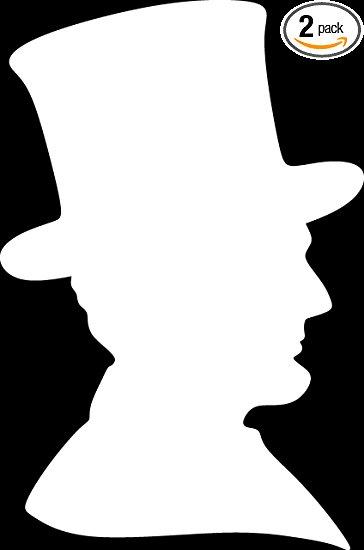 364x550 Abraham Lincoln Silhouette (White) (Set Of 2) Premium