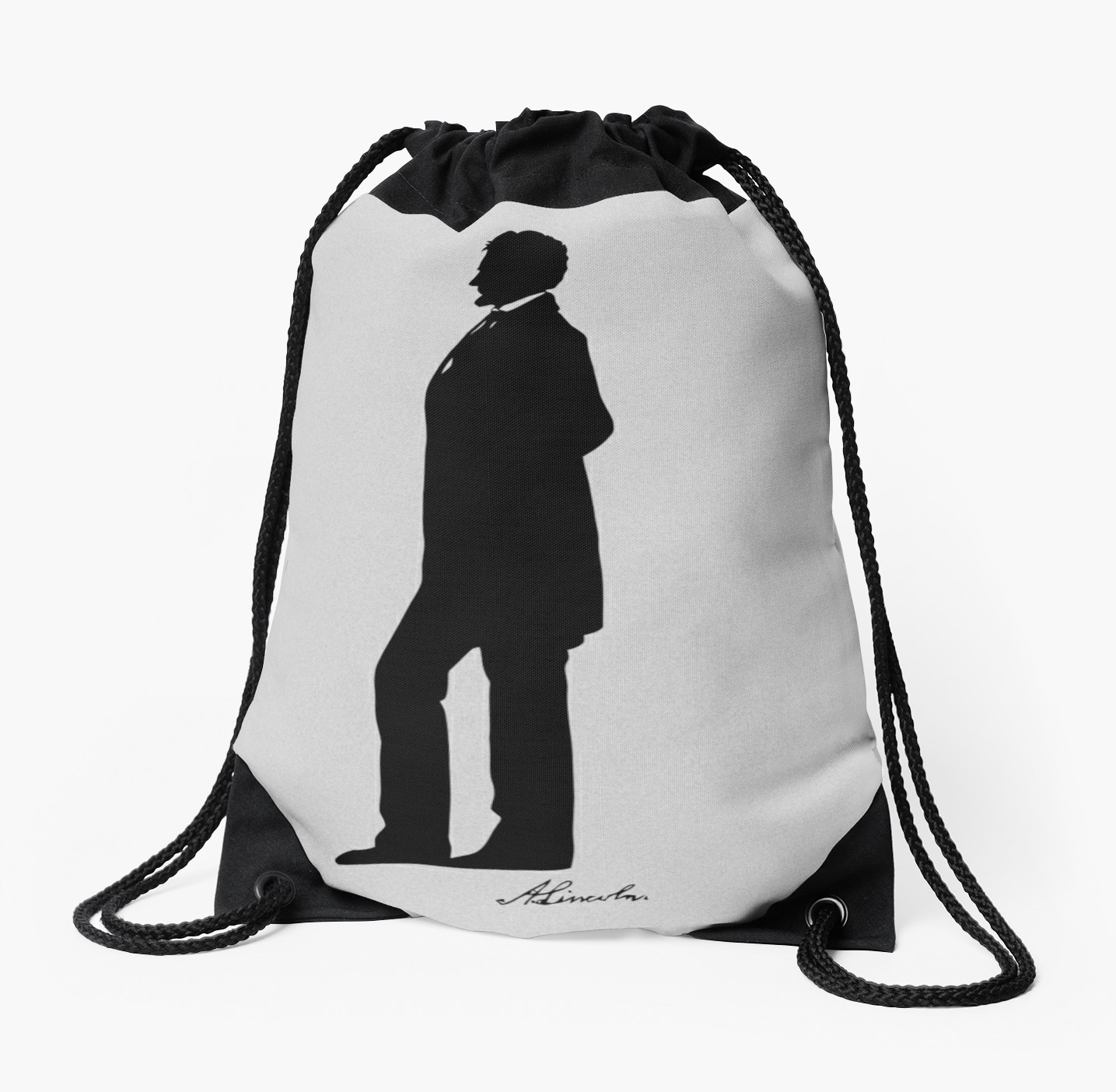1435x1404 Abraham Lincoln Silhouette Drawstring Bags By Warishellstore
