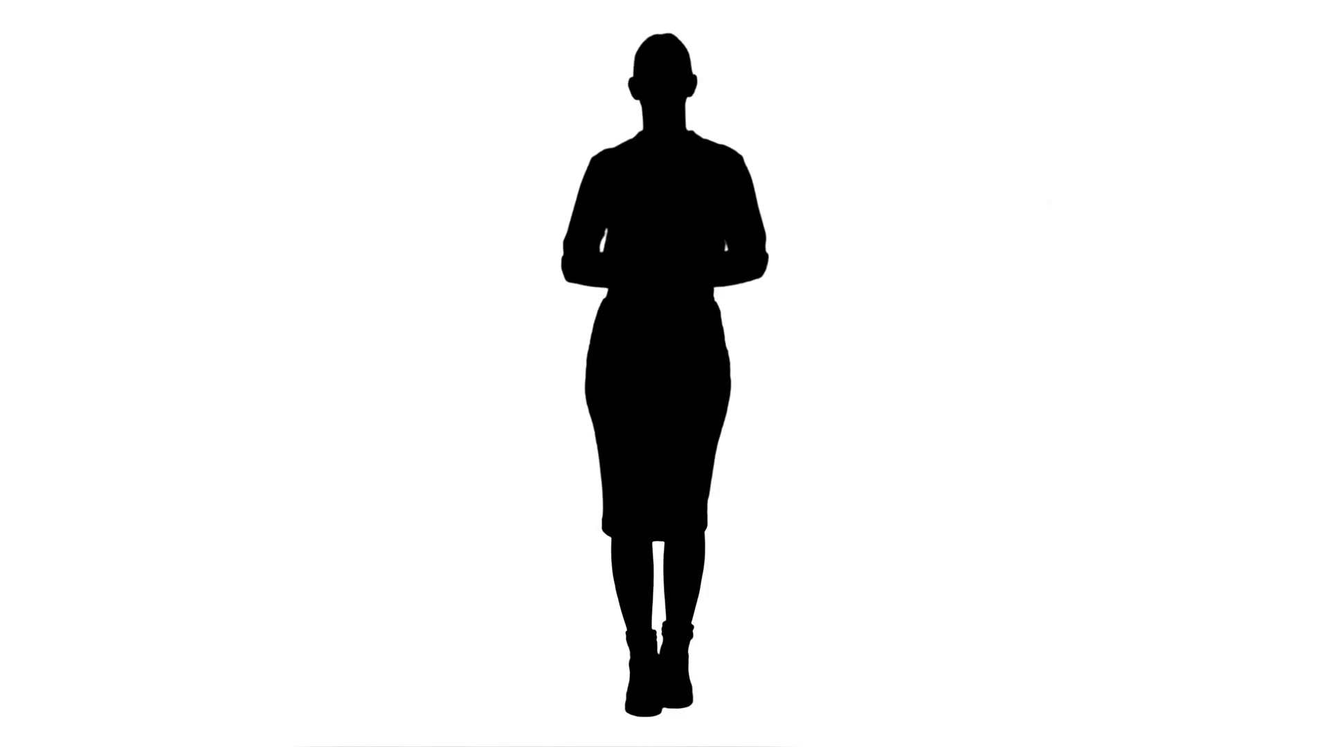 1920x1080 Silhouette Young Pretty Woman Presents Something Stock Video