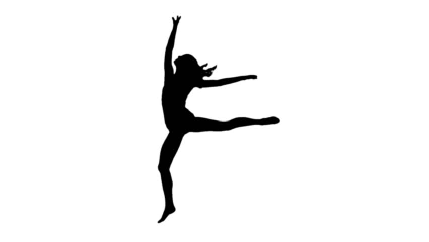 852x480 Pretty Woman Ballet Dancing Silhouette On White Background Stock