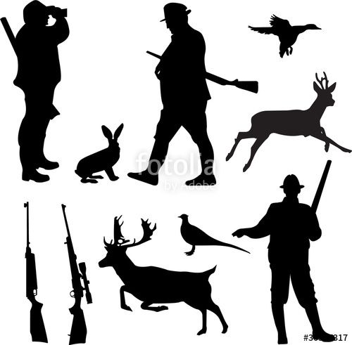 500x491 Download The Royalty Free Vector Hunting Collection Silhouettes