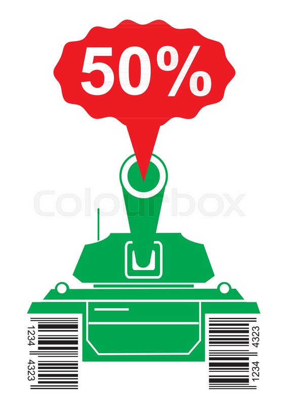 563x800 Green Silhouette Of Battle Tank With A Bar Code Instead Of Tracks