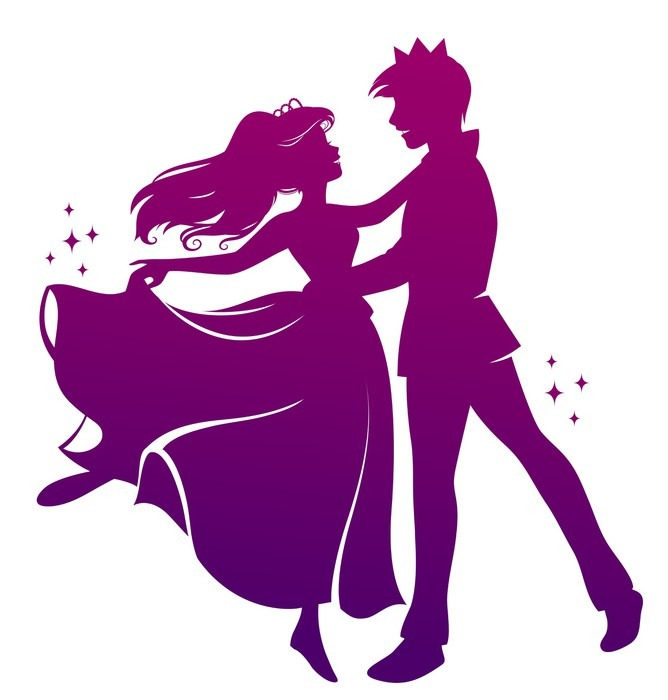 668x700 Silhouette Of Prince And Princess Dancing Wall Mural Pixers