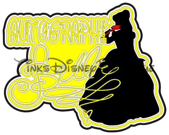 570x456 Disney Svg Princess Belle Autograph Title Scrapbook Vacation