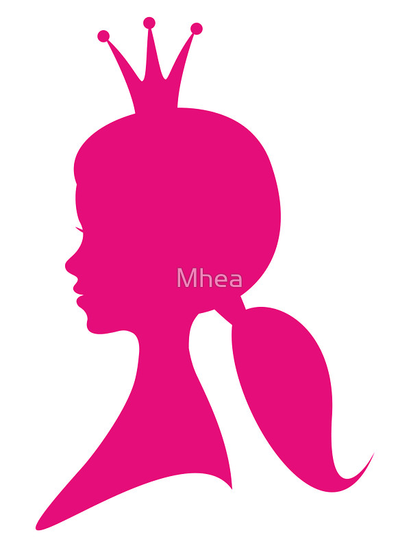 600x800 Hot Pink Girl Profile With Princess Crown Stickers By Mhea