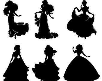 340x270 Disney Princess Svg, Princess Clipart, Princesses Dxf, Princess