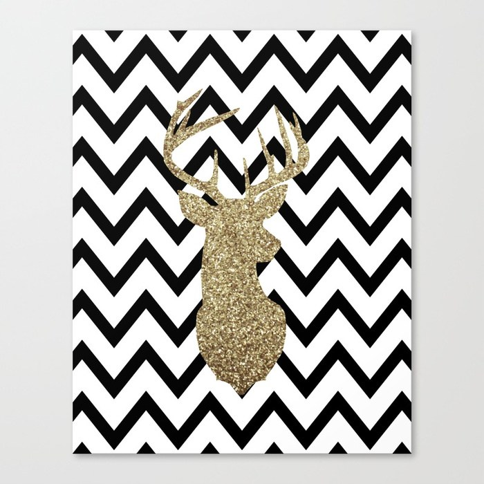 700x700 Glitter Deer Silhouette With Chevron Canvas Print By