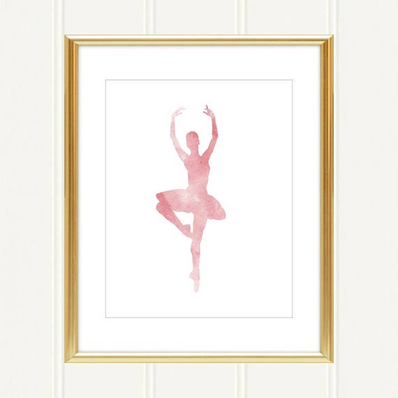 570x570 Pink Watercolor Ballerina Princess Silhouette Sign Children