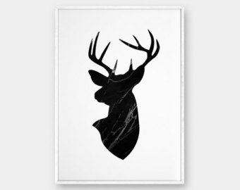 340x270 Deer Head Black Deer Antlers Wall Art Printable Deer Art