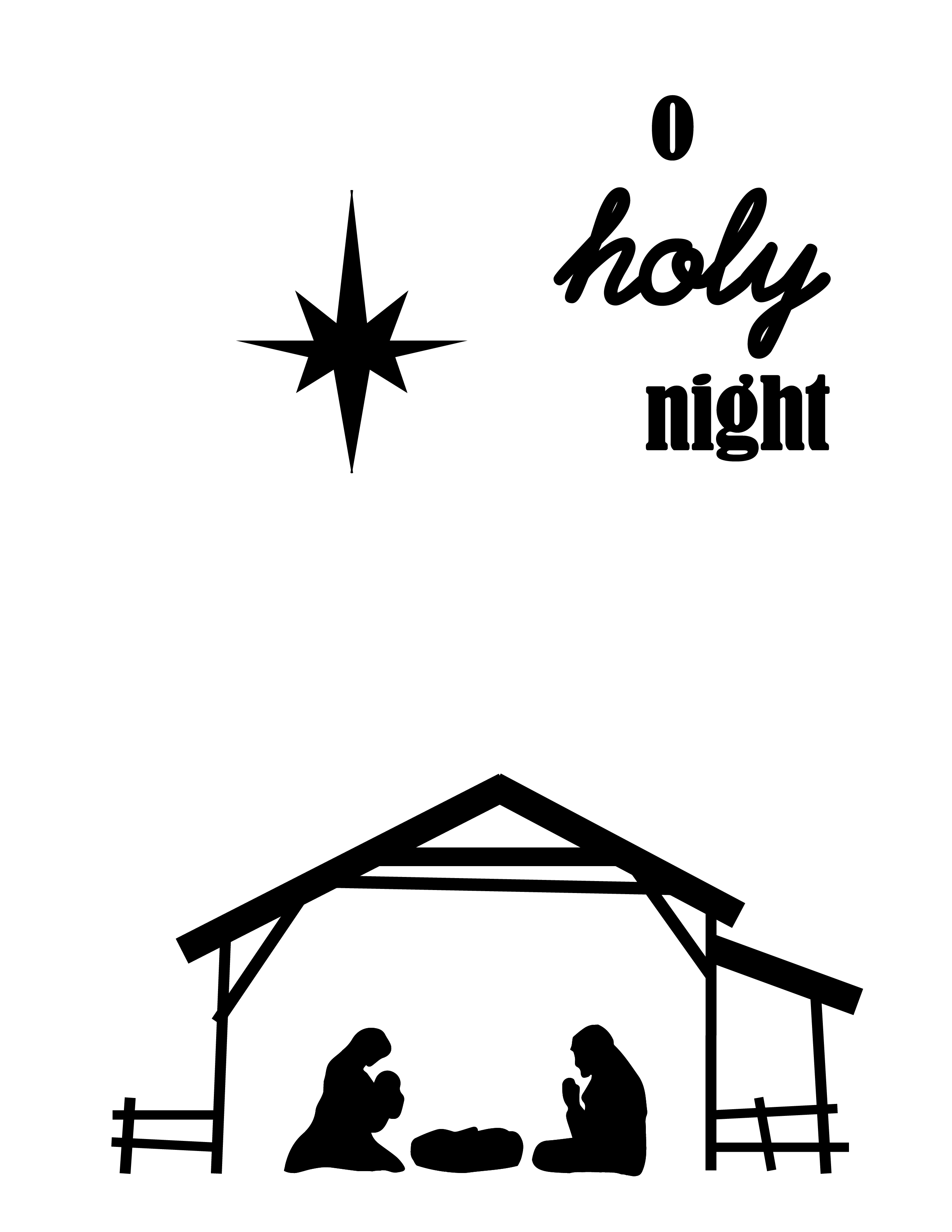 2550x3300 O Holy Night Christmas Wall Art Printable