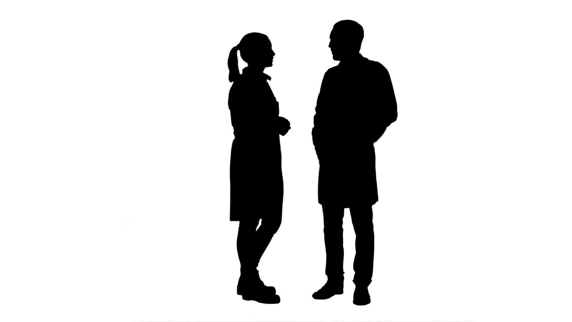 1920x1080 Silhouette Two Professional Doctors Talk Before Operation Stock