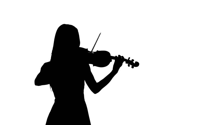 852x480 Woman Violinist Playing The Fiddle. Silhouette Stock Footage Video
