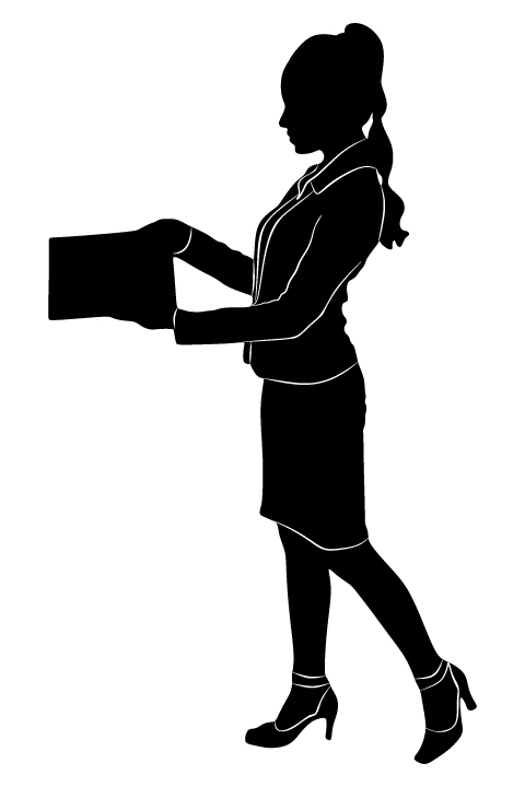 480x720 Professional Women Vector Silhouettes Set 01