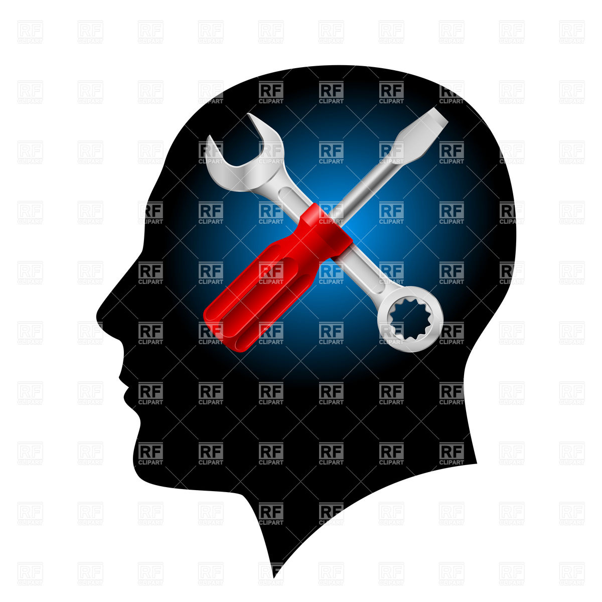 1200x1200 Head Profile Silhouette With Crossed Screwdriver And Wrench