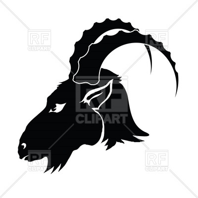 400x400 Silhouette Of Goat Head In Profile Royalty Free Vector Clip Art