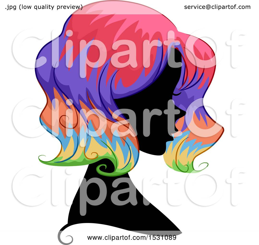 1080x1024 Clipart Of A Silhouette Female Profile With Rainbow Hair