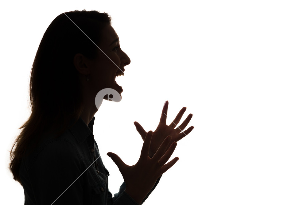 1000x667 Profile Of Screaming Woman In Silhouette Royalty Free Stock Image