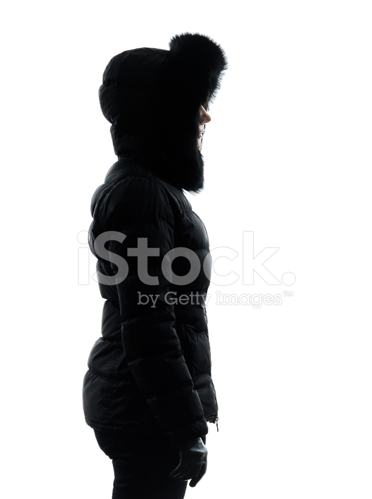 765x1024 Woman Winter Coat Standing Profile Silhouette Stock Photos