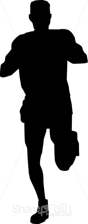 305x776 Silhouette Of Running Man Church Activity Clipart