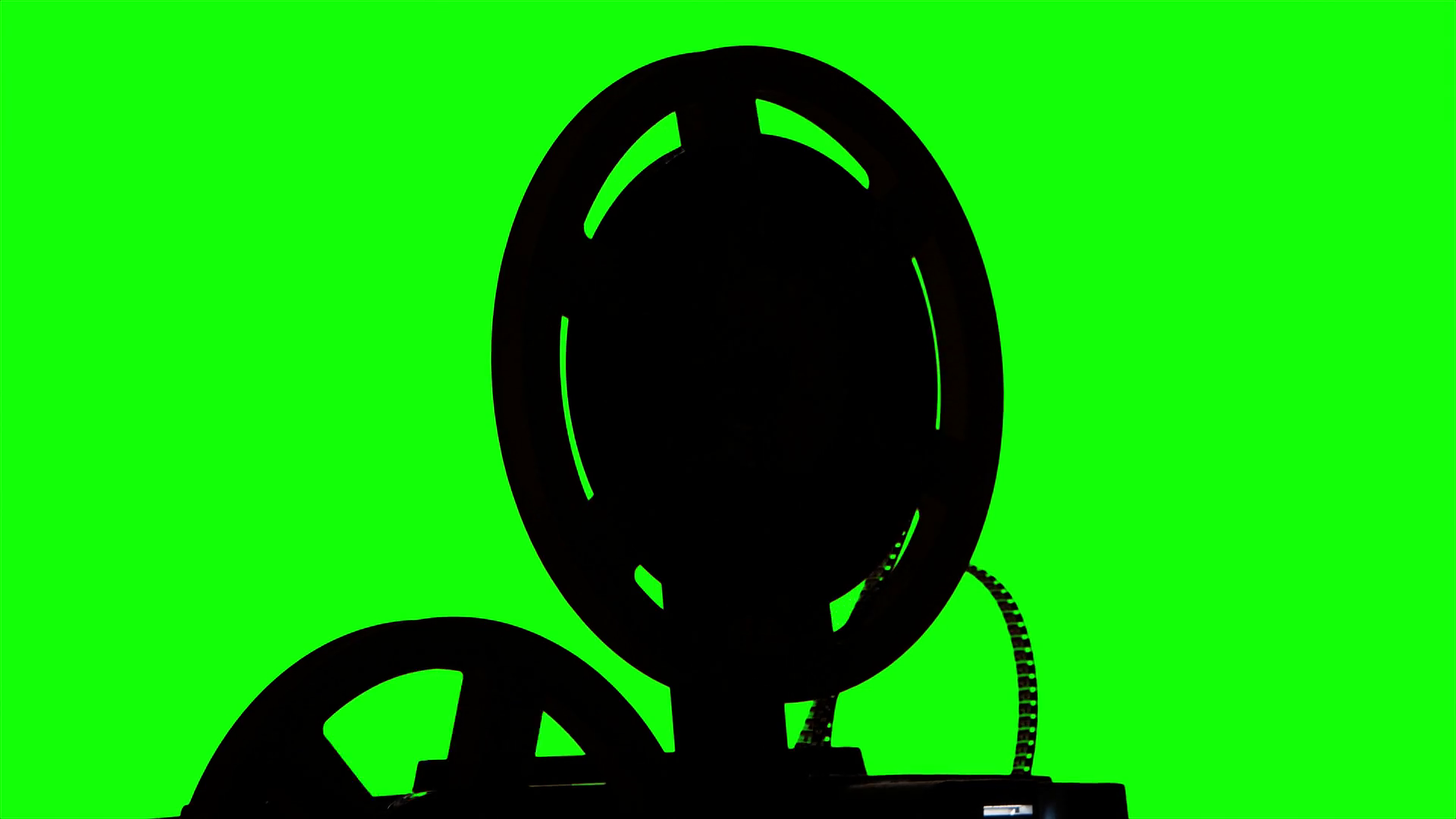 1920x1080 The Film Turns The Projector. Studio Green Screen Silhouette Stock