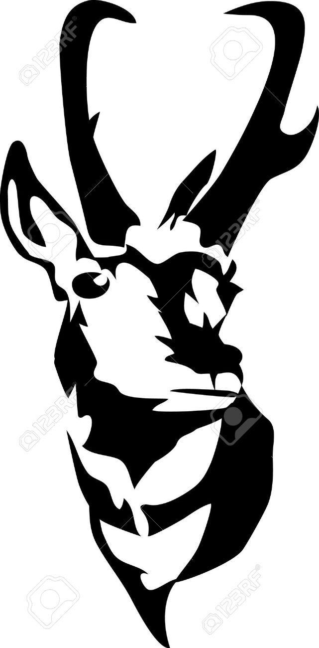 641x1300 Head Of Pronghorn Antelope Art Work Clip Art