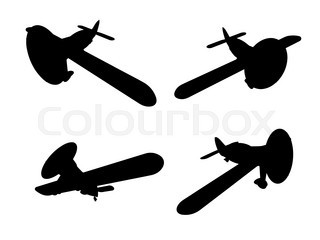 320x240 Vector Isolated Propeller Plane Drawing. Clip Art Stock Vector