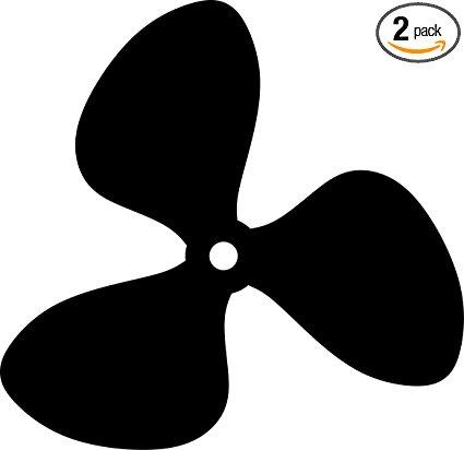 425x412 Propeller Silhouette (Black) Waterproof Vinyl Decal
