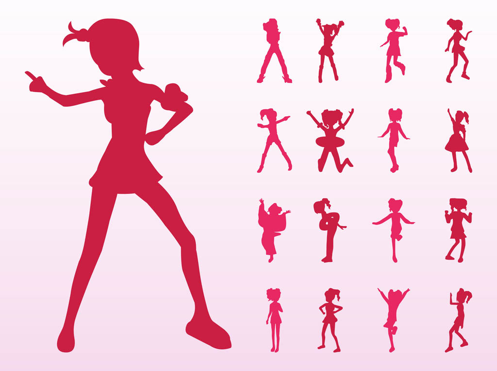 1024x765 Jumping And Dancing Girls Silhouettes Vector Art Amp Graphics