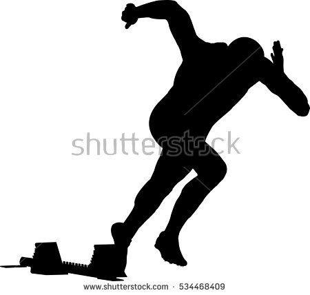 450x428 Start Men Runner Of Sprint In Starting Blocks. Black Silhouette