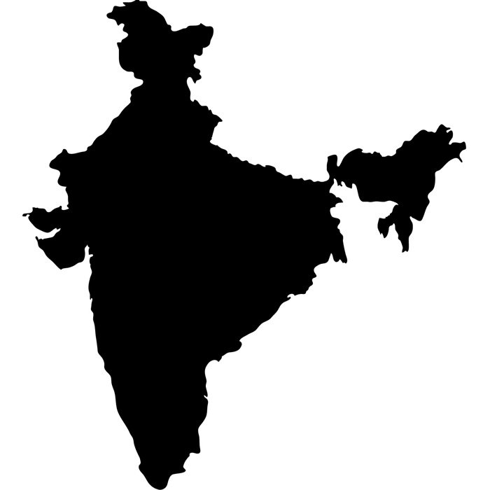 700x700 India Silhouette Map Country Rest Of The World Wall Stickers Home