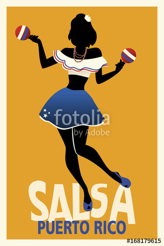 334x500 Silhouette Of Girl Dancing Salsa With Maracas. Retro Style Puerto