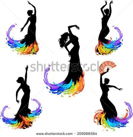 450x463 Five Silhouettes Of Dancer