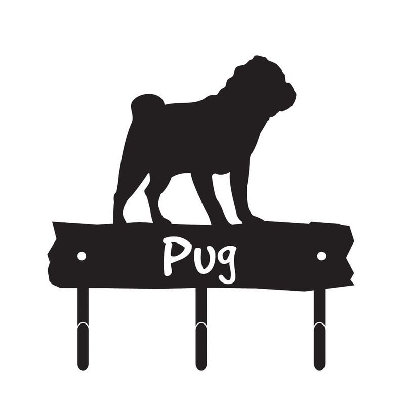 800x800 Pug Dog Breed Silhouette Leash Hook Holder Amp Key Rack Metal