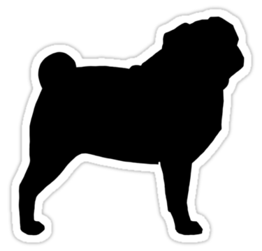 375x360 Pug Silhouette(S)' Sticker By Jenn Inashvili Silhouettes