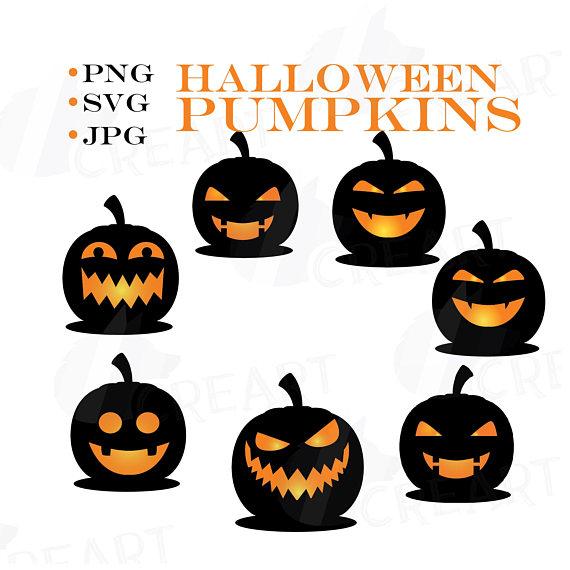 570x570 Halloween Pumpkin Face Silhouettes Clipart For Print, Black