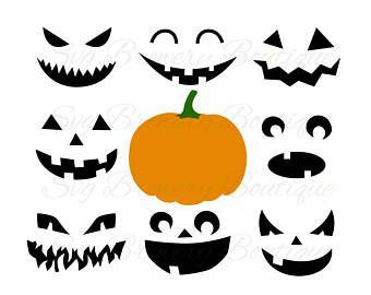 340x270 Pumpkin Faces, Halloween, Jack O Lantern, Svg (Layered), Png, Dxf