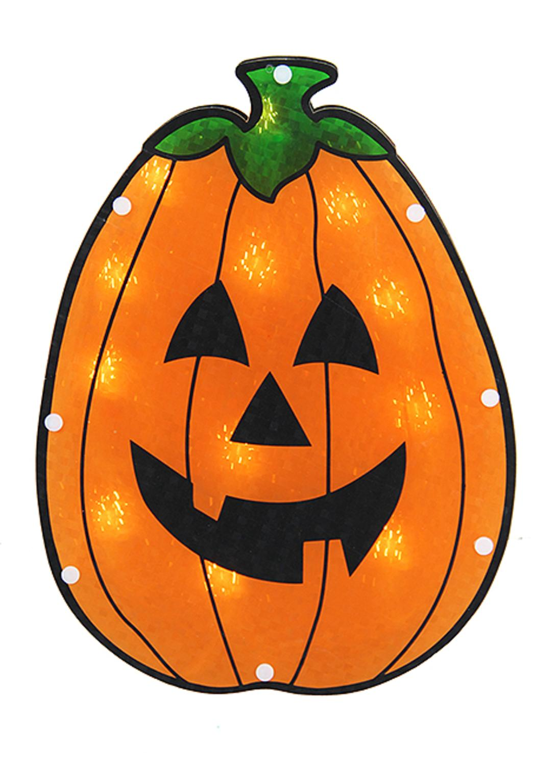 1048x1500 Lighted Holographic Pumpkin Halloween Window Silhouette Decoration