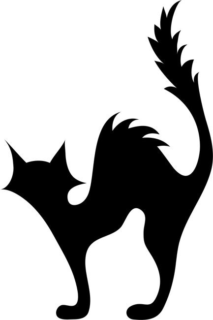 433x650 Black Cat Pumpkin Carving Stencil