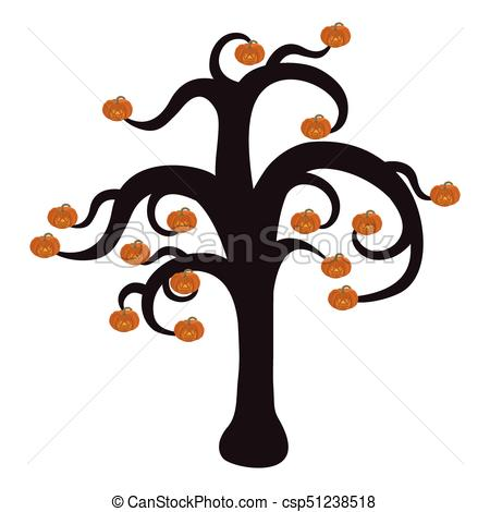 450x470 Silhouette Of A Tree For Halloween With Burning Pumpkins Vector