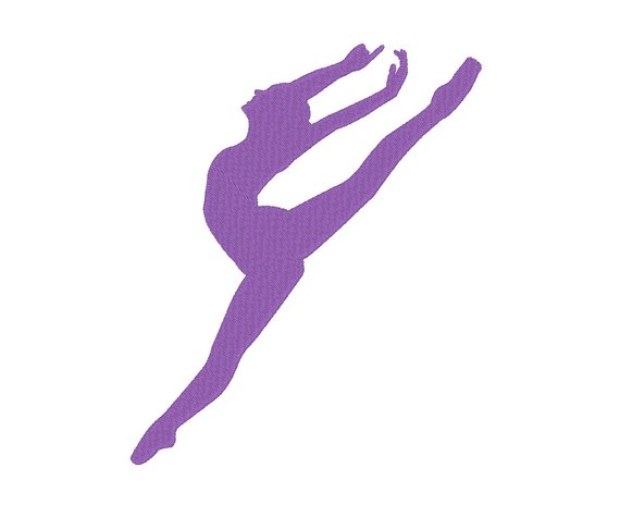 570x464 Leaping Ballerina Ballet Dancer Silhouette Embroidery Machine