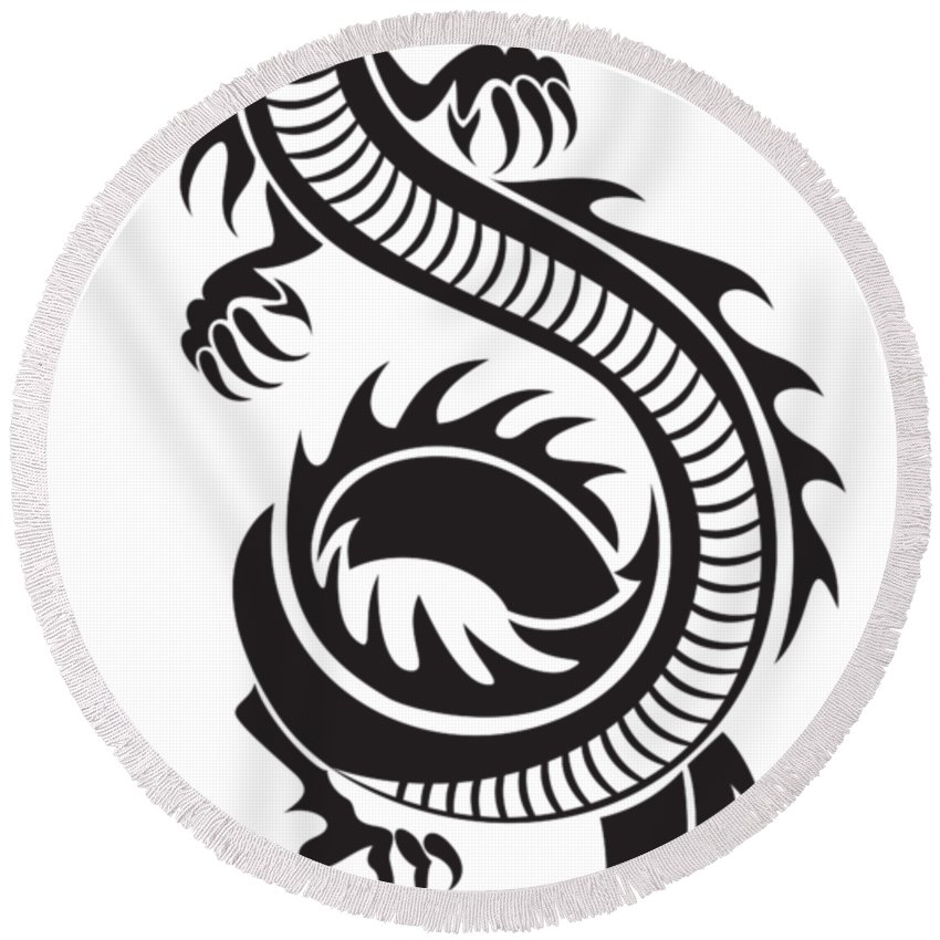 850x850 Chinese Dragon Silhouette Purple Round Beach Towel For Sale By