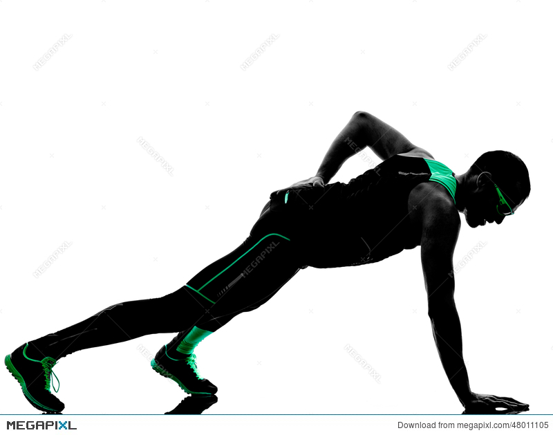 800x629 Man Push Ups Exercises Fitness Silhouette Stock Photo 48011105
