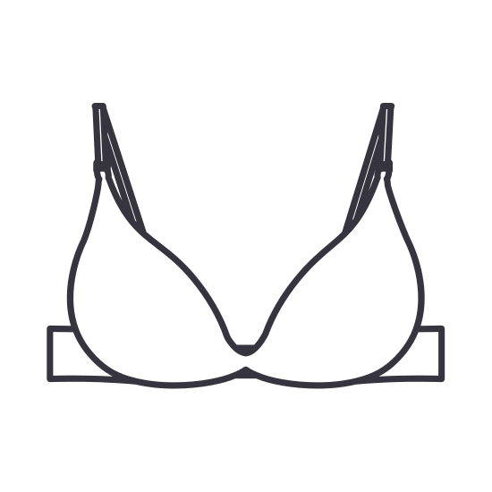 550x550 Silhouette Push Up Brassier Icon Flat