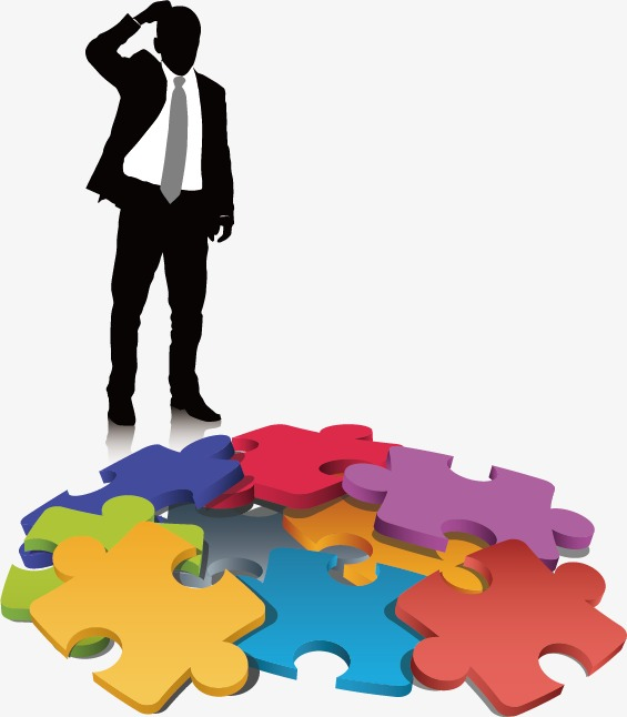 565x646 Business People Silhouettes And Puzzles, Business Man, Puzzle