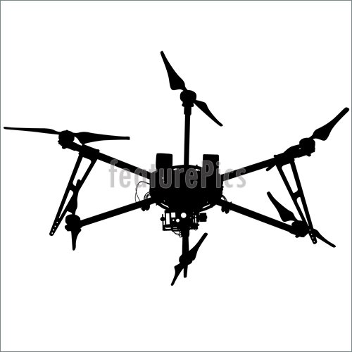 500x500 Illustration Of Black Silhouette Drone Quadcopter