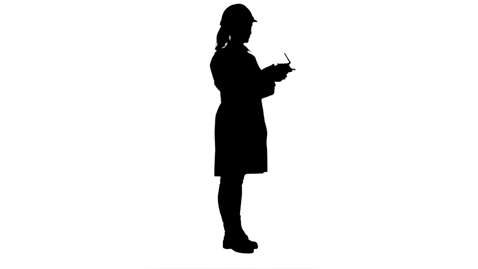 1920x1080 Silhouette Female Engineer Correct Parts Of An Object Using Remote