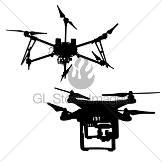 325x325 Black Set Silhouette Drone Quadrocopter On White Background Gl