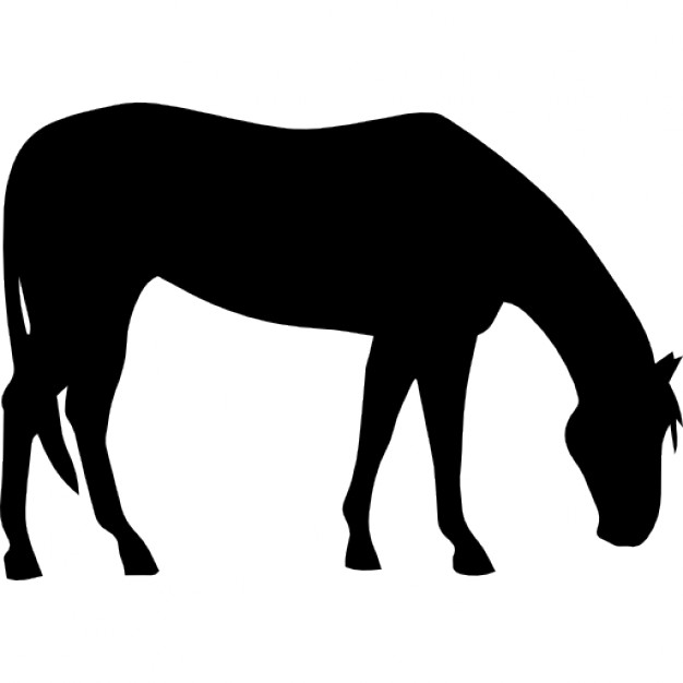 626x626 Horse Grazing Black Silhouette Icons Free Download