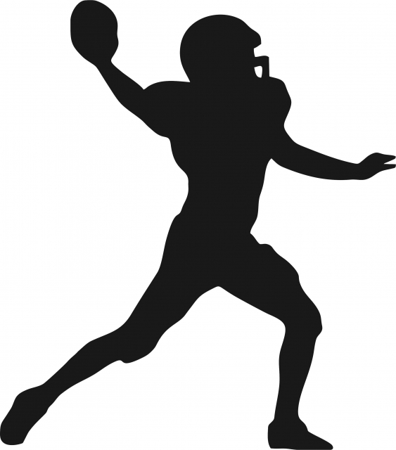 563x640 Football Quarterback Silhouette Laser Cut Appliques