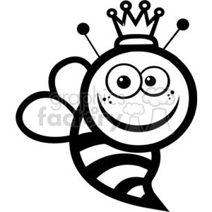 300x300 Royalty Free Black And White Queen Bee 379850 Vector Clip Art